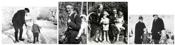 J. Piaget, avec ses enfants, sa femme et son père